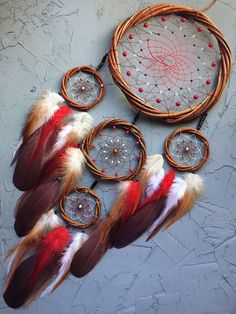 Dream catcher wall hanging Traumfänger Willow Red Dreamcatcher Native American decor Large dream catcher Dream catchers Birthday gift - Dream catcher Christmas gift for her Willow Red Dreamcatcher White Brown dream catcher Christmas de - Dream Catcher Decor, Black Dream Catcher, Small Dream Catcher, Dreamcatchers, Diy Dream Catcher Tutorial, Native American Decor, Dream Catcher Native American, Diy Tumblr, Rooster Feathers