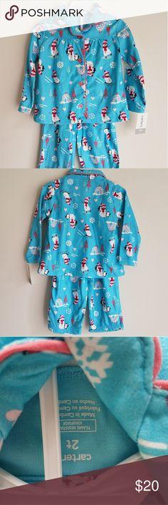 Carters Toddler Girls Pajama Set Size 2T Snowman 100% Polyester Carter's Pajamas Pajama Sets
