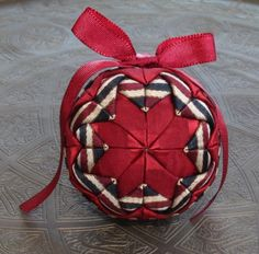 Christmas Quilted Ornament Red wine color Dark by LuxuryPieces