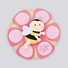 C0229 : Faire-part fleur rose et abeille