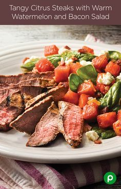 Add a little citrus to your sizzle with fresh ginger root, orange juice, watermelon and bacon for Tangy Citrus Steaks with Warm Watermelon and Bacon Salad. Publix Aprons Simple Meals will boldly take your steak where no recipe has gone before.