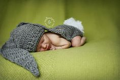 over sized bunny ears hat for babies free crochet pattern from Leslie Ginyard on Ravelry