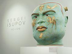"'Firey' (2009) by Russian-born, Massachusetts-based ceramic artist Sergei Isupov (b.1963). From the ""He + She"" installation at Barry Friedman Ltd. in Chelsea. via artnet Magazine"