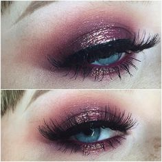 Eye shadow: in crease is makeup geek cosmetics peach smoothie and bitten, Lid is…