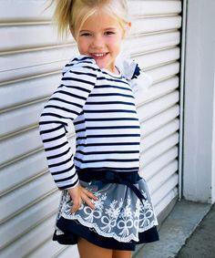 Love this Navy Stripe Lace Dress - Girls on #zulily! #zulilyfinds