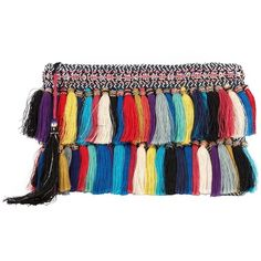 Christophe Sauvat Rainbow Cotton Tassel Fringe Clutch ($245) ❤ liked on Polyvore featuring bags, handbags, clutches, multi, cotton purse, fringe purse, boho chic handbags, zipper purse and boho handbag