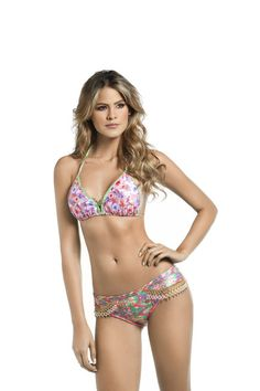 The gorgeous triangle bikini top is Mar de Rosas signature style. An original print made of exotic wildflowers and berries is simply divine. #bikini