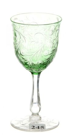 """WINE GLASS - 5 3/4"""" - ABCG - GREEN CUT TO CLEAR ENGRAVED ROCOCO AND FLORAL DESIGN - CLEAR STEM - PATTERN CUT BASE."""