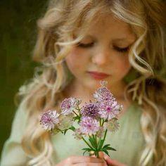 flower girl angel blonde curly hair