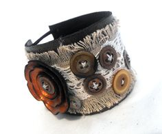 Leather, linen and lace cuff bracelet. Eco friendly linen, lace and leather OOAK cuff
