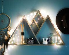 Mountain Range Reclaimed Wood Triangle Shelf Boho Home Decor