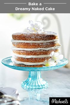 This dreamy naked cake is the perfect confection for a bridal or baby shower. It's simple to make with Wilton's Easy Layers! pan. No need to worry about perfect icing, just frost between layers and finish the cake with a dusting of powdered sugar. Get the Easy Layers! pan and all of your baking supplies at your local Michaels store.