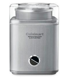 Test winner Cuisinart ICE-30BC ($80, amazon.com) makes up to two quarts of thick, velvety-smooth ice cream or sorbet in about 45 minutes. Drop fruit or candy in through the top; the machine mixes it in. The base's cord compartment makes for tidy storage.  - GoodHousekeeping.com