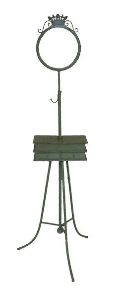 Cód. 106.011 - Gancheira - Móvel Com Espelho E Porta Jóia Em Metal - Azul - 180x55x60