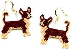 #beadwork  Chihuahua Beaded earrings