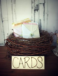 Rustic bird nest wedding card holder-rustic card holder or advice holder-rustic wedding-bird nest centerpiece on Etsy, $42.00