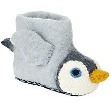 Buy Sew Heart Felt Monty Penguin Slippers, Grey from our Girls' Footwear Offers range at John Lewis & Partners. Cute Slippers, Felted Slippers, Christmas Pajamas, Christmas Home, Christmas Adverts, Reindeer Head, Christmas Campaign, Felt Gifts, Boys Pajamas