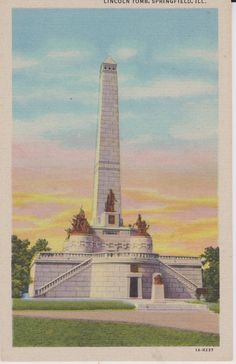 Springfield Illinois Lincoln's Tomb Linen by postcardsofthepast
