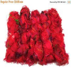 SALE Sari Silk Fuzzy Ribbon, Irredescent , Bright Red mix