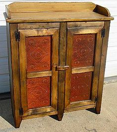 Product Listing - primitives. Pie Safe with 2 Tin Doors