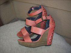Calvin Klein Jeans women sandals 9  Salmon Wedge Heel Leather #CalvinKlein #PlatformsWedges #Party $29.99