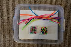 Lacing box  Piper cleaners and pony beads