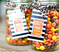 reese's pieces teacher gift idea from Our Fifth House * Fill mason jar with their favorite candy! How simple!!*