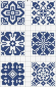 Cross-stitch Blue tiles, part 5 Biscornu Cross Stitch, Cross Stitch Charts, Cross Stitch Designs, Cross Stitch Embroidery, Embroidery Patterns, Cross Stitch Patterns, Crochet Chart, Filet Crochet, Crochet Cross