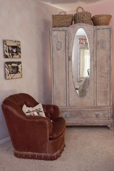 One Of The Centerpiece Items In Room Is This Armoire That Had Been Antiqued And