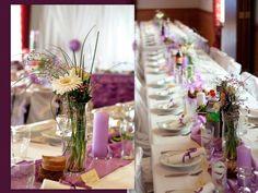Schöne Dekoideen für extravagante Hochzeitsdekoration - hochzeit tischdeko ideen lila texturen stoffe wedding table decoration
