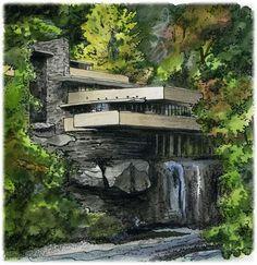 Fallingwater, Pennsylvania #USA by #Artist Illustrator #DavidCrighton #franklloydwright