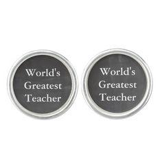 """Chalkboard Look"" Teacher Cufflinks can say whatever you like: teacher's name, etc. Makes a great gift!"