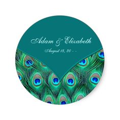 Teal Peacock Elegant Peacock Wedding Favor Label Round Stickers