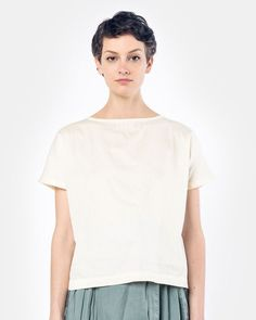 Boat Neck Top in Eggshell
