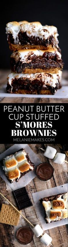 There's no campfire needed for these Peanut Butter Cup Stuffed S'mores Brownies! A thick graham cracker crust base is topped with a rich brownie batter, peanut butter cups, dark chocolate candy bar and large jet-puffed marshmallows. Decadent and delicious!