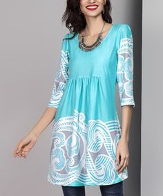 Aqua Cloud Empire-Waist Tunic Dress
