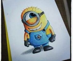 drawing of a minion so cute doing a despicable me 2 poster so this is helpful to look at so i can draw different expressions