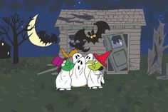 Description: The Peanuts gang are dresses in costume and standing in front of a haunted house in this Halloween Peanuts canvas art. This wall hanging is perfect for Halloween decoration. - Peanuts wal #halloweendecorationideas