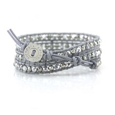 Silver Beads and Crystals on Gray - Wrap Bracelet
