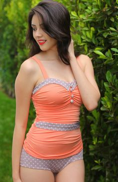 Caroline in Creamsicle maillot One piece swimsuit Modest swimsuit