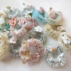 "3 mini pastel 1-1/2"" bottle brush wreaths with vintage millinery"
