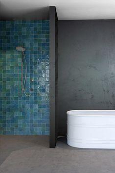 zellige - why these glazed terracotta tiles are hot zellige, zillij or zellij. all names for brilliantly colored terracotta tiles from morocco. why these hand cut tiles are hot in design right now. Diy Bathroom, Bathroom Fixtures, Bathroom Interior, Small Bathroom, Blue Bathrooms, Bathroom Vanities, Bathroom Designs, Shower Alcove, Shower Tub