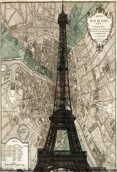 Vintage, map, Paris, city of romance!  Yes I need this framed on my wall in the bedroom!