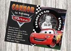 Rayo McQueen Disney Cars invitación del por mommybrain2designs