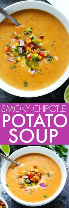 This Smoky Chipotle Potato Soup with Cheddar Cheese is the perfect recipe to warm you up on chilly days. It's thick & creamy with just a hint of spicy heat. | platingsandpairings.com