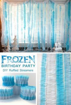 Disney Frozen DIY Ruffled Streamers - an easy and inexpensive party decoration project for a kids birthday party, baby shower or other special occasion.  For more Frozen Party Ideas follow us at http://www.pinterest.com/2SistersCraft/..