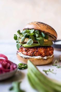 Blackened Salmon Burgers with Herbed Cream Cheese | halfbakedharvest.com