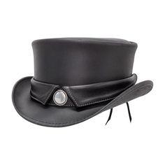 Steampunk Hatter Marlow Leather Top Hat, Collar Band - Head'n Home Leather Top Hat, Black Leather, Black Women Fashion, Womens Fashion, Black Goth, Come Undone, Fancy Hats, Marlow, Hats Online