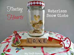 DIY Floating Hearts Snow Globe mythriftstoreaddiction.blogspot.com How to create floating hearts and vintage snow globe.