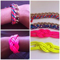 Homemade bracelets : chaîne & noeud marin néon - colorful